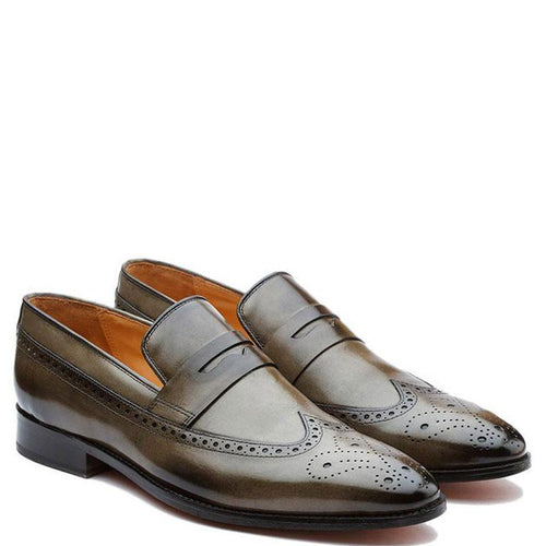 Longwing Saddle Loafer With Medallion