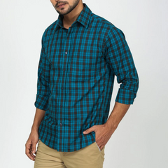 Teal Casual Plaid Shirt