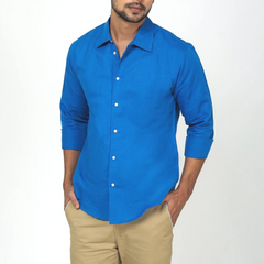 Lapis Blue Casual Linen Shirt
