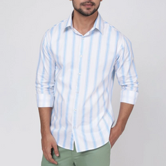 Cadet Blue Casual Stripe Shirt