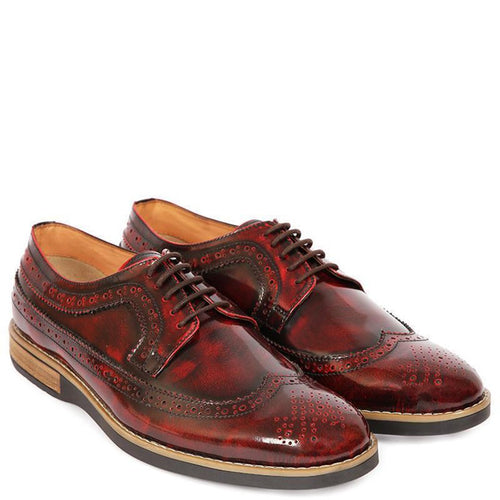 Metalloid Brogue Oxfords - Burgundy