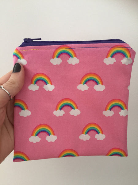Pink Rainbow Zipper Snack Bag