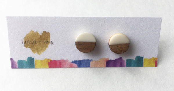 Wood & Cream Earrings