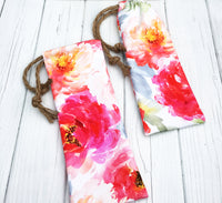 Bright Floral Straw Pouch