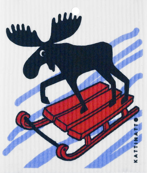 Sledding Moose Swedish Dishcloth