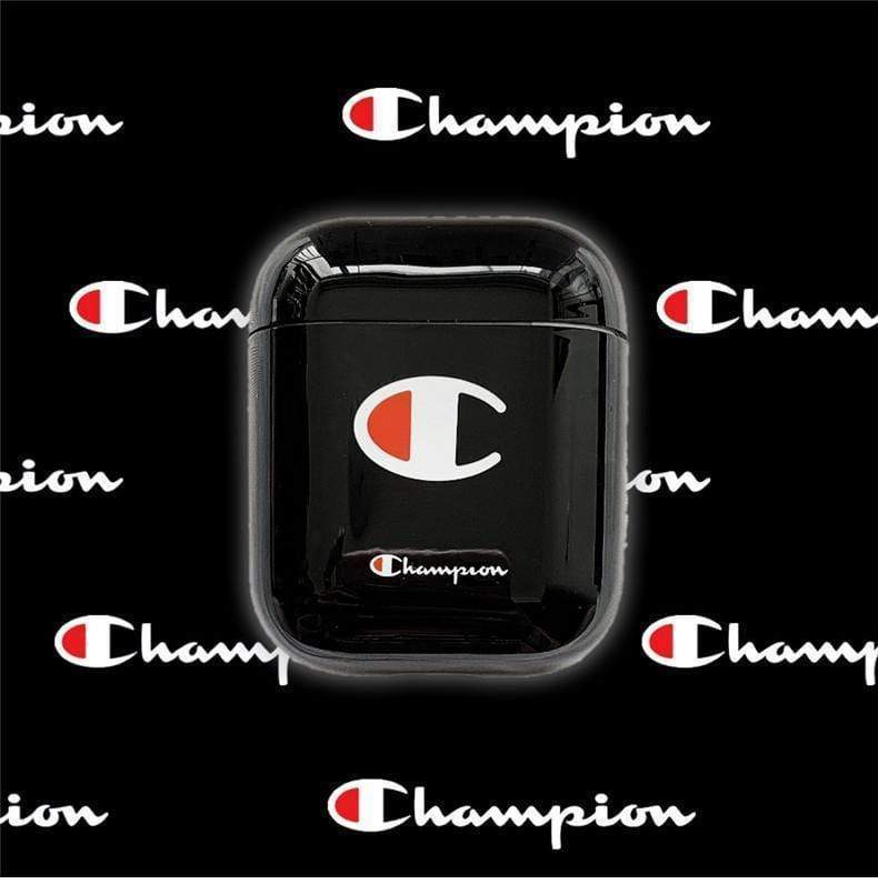 AirPods Case Black Champion Style Street Fashion Classic Logo Protective AirPods 1 2 Case