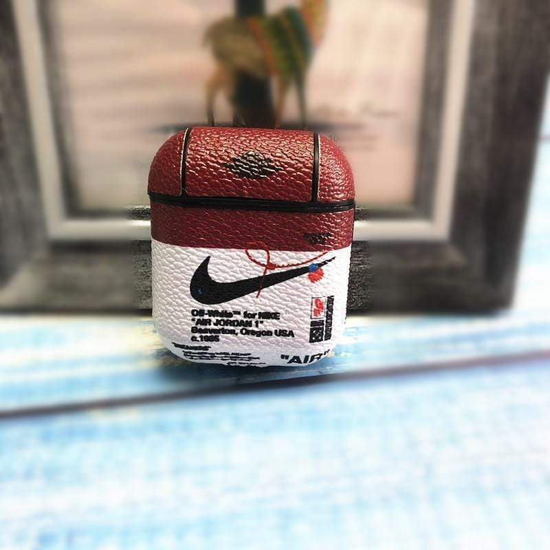 AirPods Case Burgundy+White Nike Style Leather Protective AirPods 1 & 2 Case