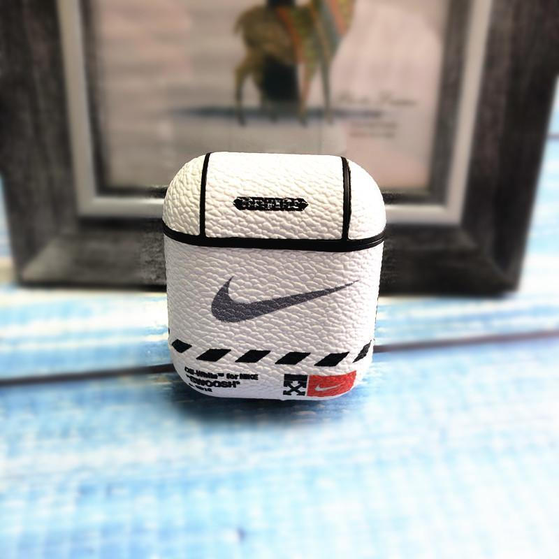 AirPods Case White Nike Style Leather Protective AirPods 1 & 2 Case