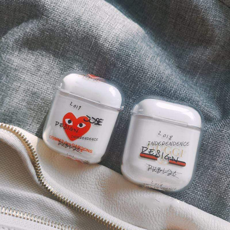 AirPods Case PLAY Comme Des Garcons Gucci Meme Clear Hard AirPods 1 & 2 Case