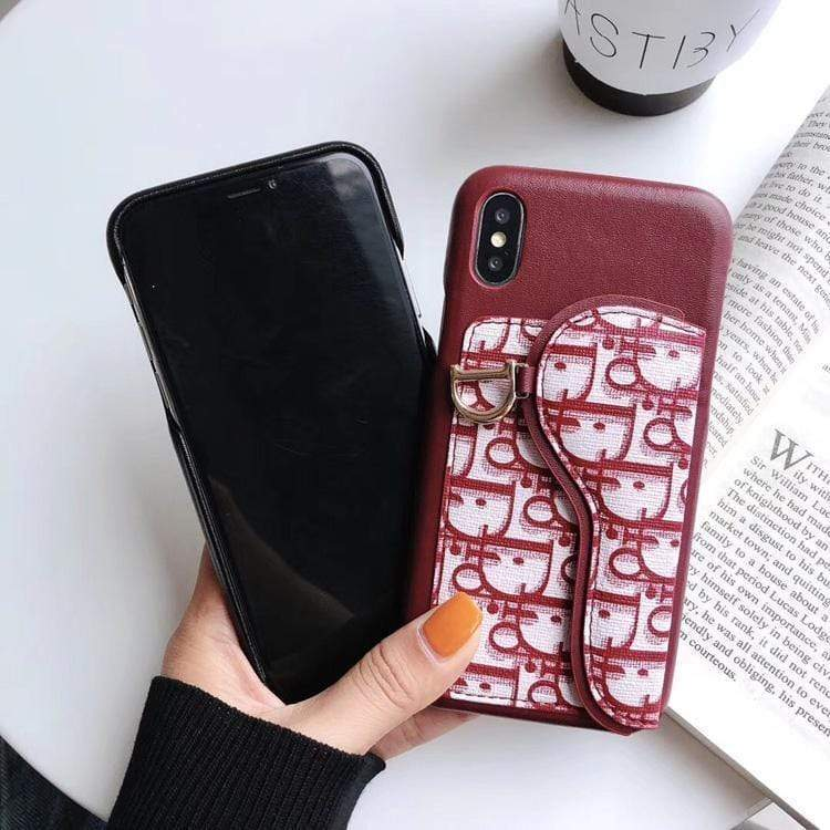 Iphone 11 Fashion Dior Style Coin Purse Genuine Leather Designer iPhone Case For Iphone 11 Pro Max X XS XS MAX XR 7 8 Plus