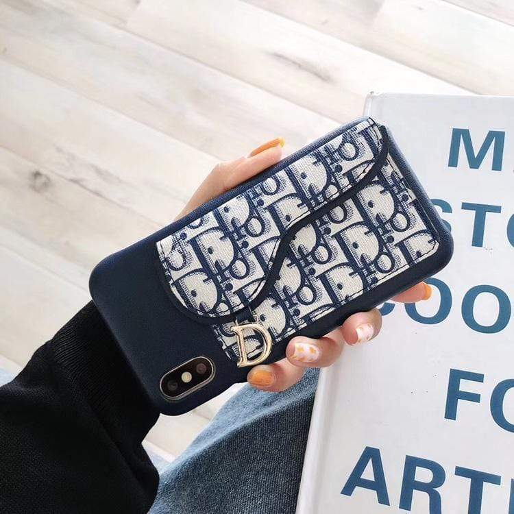 Iphone 11 Blue / IPhone 11 PRO MAX Fashion Dior Style Coin Purse Genuine Leather Designer iPhone Case For Iphone 11 Pro Max X XS XS MAX XR 7 8 Plus