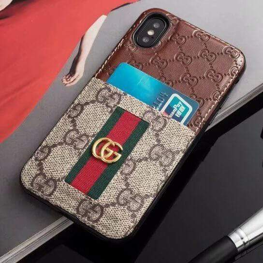 Iphone 11 10011-Brown / iPhone 6/6s Gucci iPhone case Brown 11 Pro Xs Max Xr 8 Plus Leather Card