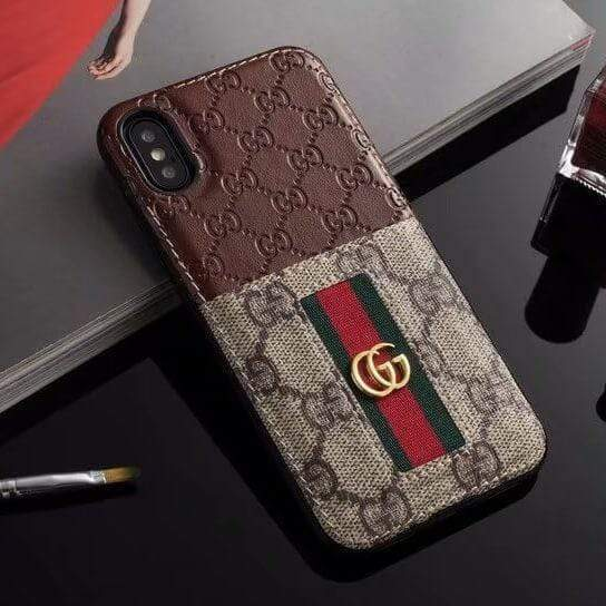 Iphone 11 Gucci iPhone case Brown 11 Pro Xs Max Xr 8 Plus Leather Card