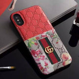 Iphone 11 10013-Red / iPhone 6/6s Gucci iPhone case Brown 11 Pro Xs Max Xr 8 Plus Leather Card