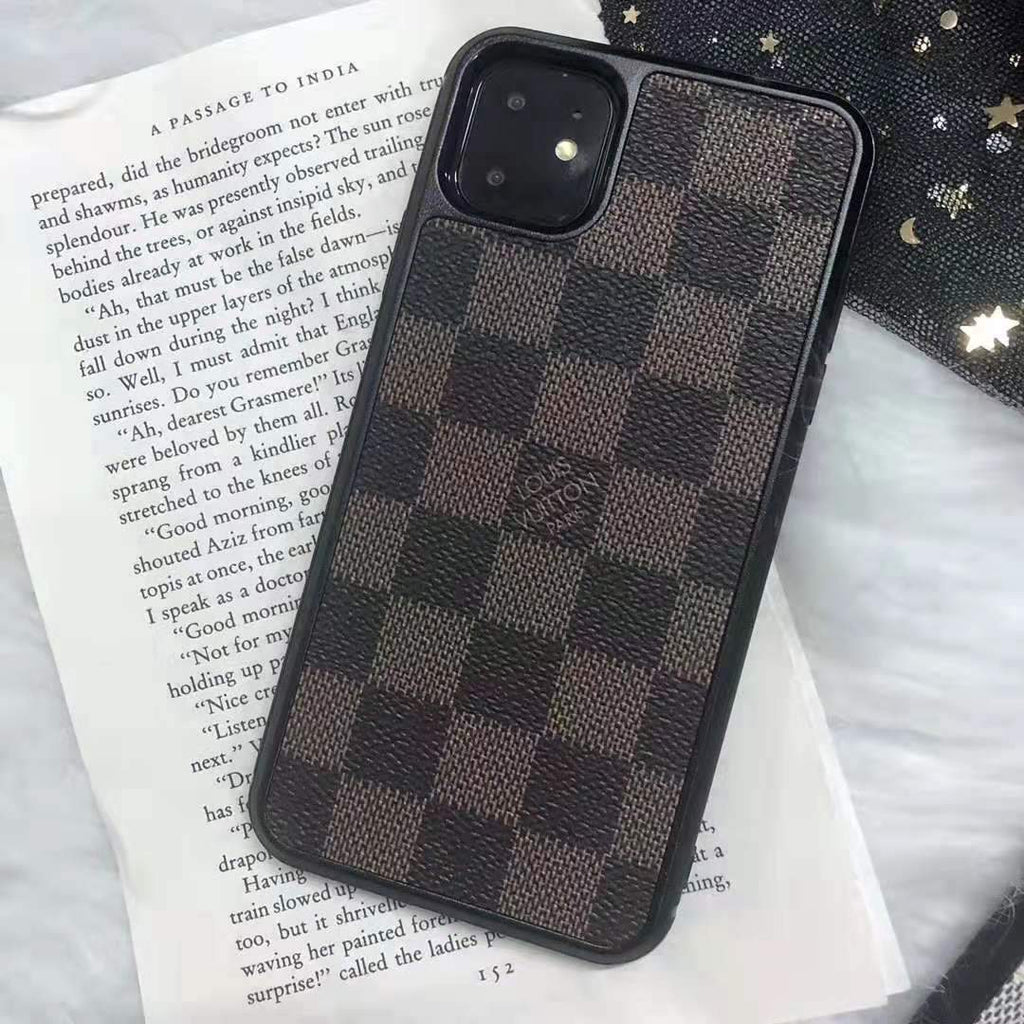 iPhone 11 Brown / iPhone 7 Louis Vuitton Style Damier Leather Designer iPhone Case For iPhone 11 Pro Max X XS XS Max XR 7 8 Plus