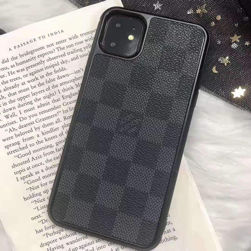 iPhone 11 Black / iPhone 7 Louis Vuitton Style Damier Leather Designer iPhone Case For iPhone 11 Pro Max X XS XS Max XR 7 8 Plus