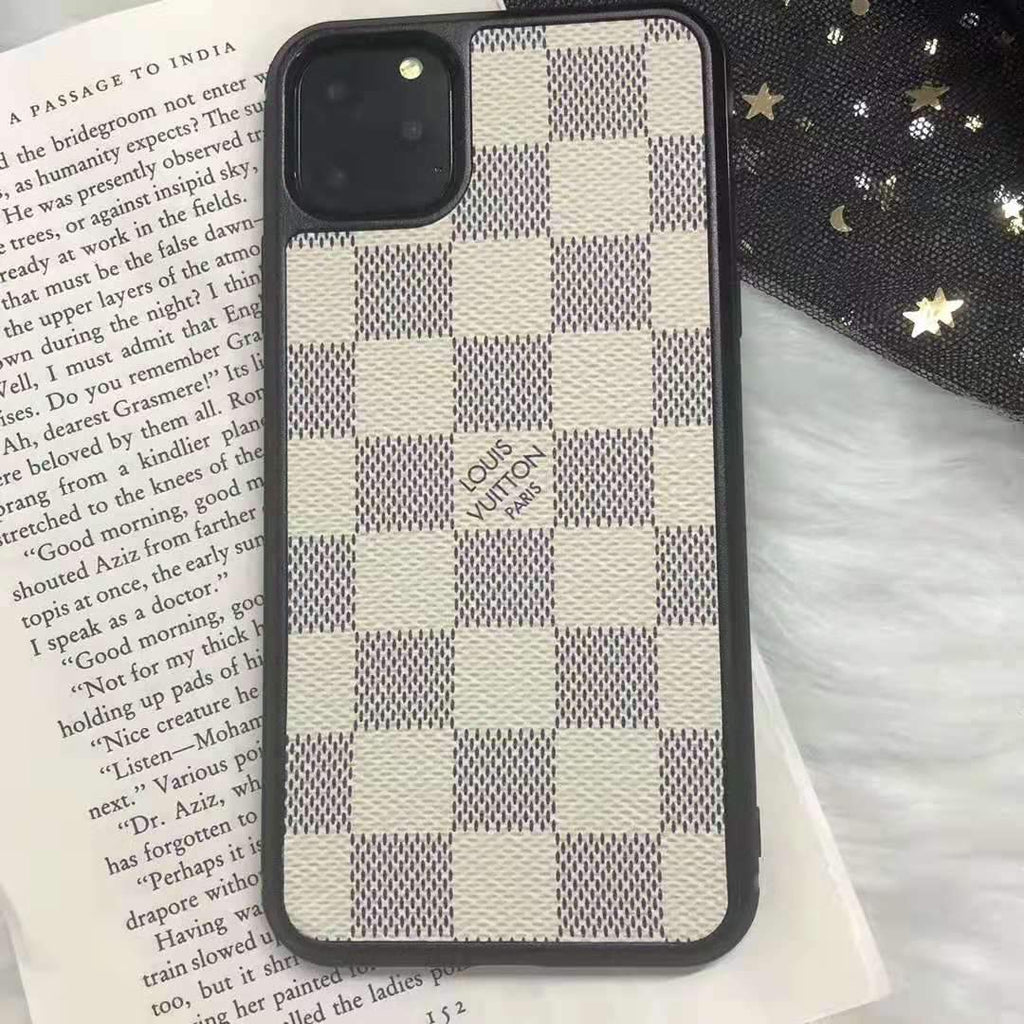 iPhone 11 White / iPhone 7 Louis Vuitton Style Damier Leather Designer iPhone Case For iPhone 11 Pro Max X XS XS Max XR 7 8 Plus