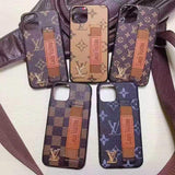 iPhone 11 Louis Vuitton Style Leather Monogram Strap Designer iPhone Case For iPhone 11 Pro Max X XS XS Max XR 7 8 Plus