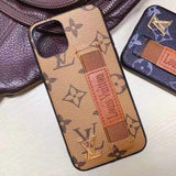 iPhone 11 Beige / iPhone 7 Louis Vuitton Style Leather Monogram Strap Designer iPhone Case For iPhone 11 Pro Max X XS XS Max XR 7 8 Plus