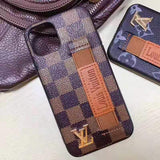 iPhone 11 BrownDamier / iPhone 7 Louis Vuitton Style Leather Monogram Strap Designer iPhone Case For iPhone 11 Pro Max X XS XS Max XR 7 8 Plus