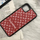 iPhone 11 Red / iPhone 7 Supreme x Louis Vuitton Style Leather Designer iPhone Case For iPhone 11 Pro Max X XS XS Max XR 7 8 Plus
