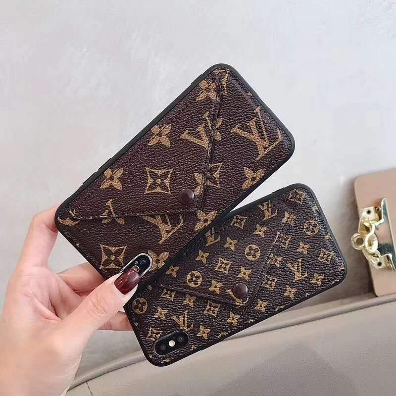 iPhone Case Louis Vuitton Gucci Style Monogram Card Holder Leather iPhone Case For iPhone X XS XS Max XR 7 8 Plus