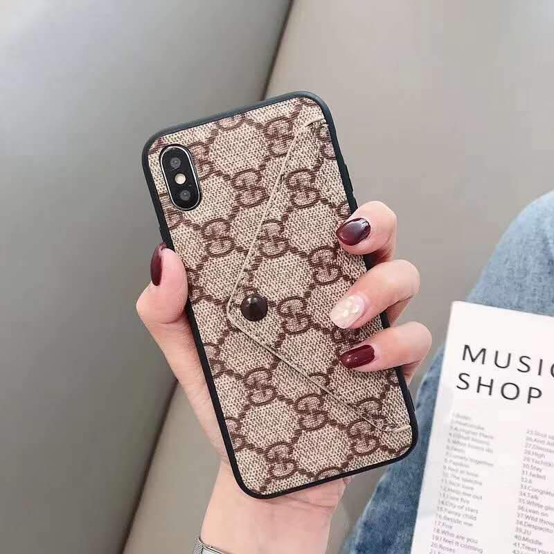 iPhone Case Gucci / iPhone XS Max Louis Vuitton Gucci Style Monogram Card Holder Leather iPhone Case For iPhone X XS XS Max XR 7 8 Plus