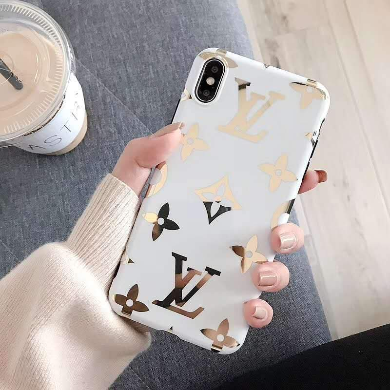 iPhone Case Big Logo White / iPhone XS Max Louis Vuitton Style Monogram Electroplating Glossy TPU Silicone Designer iPhone Case For iPhone X XS XS Max XR 7 8 Plus