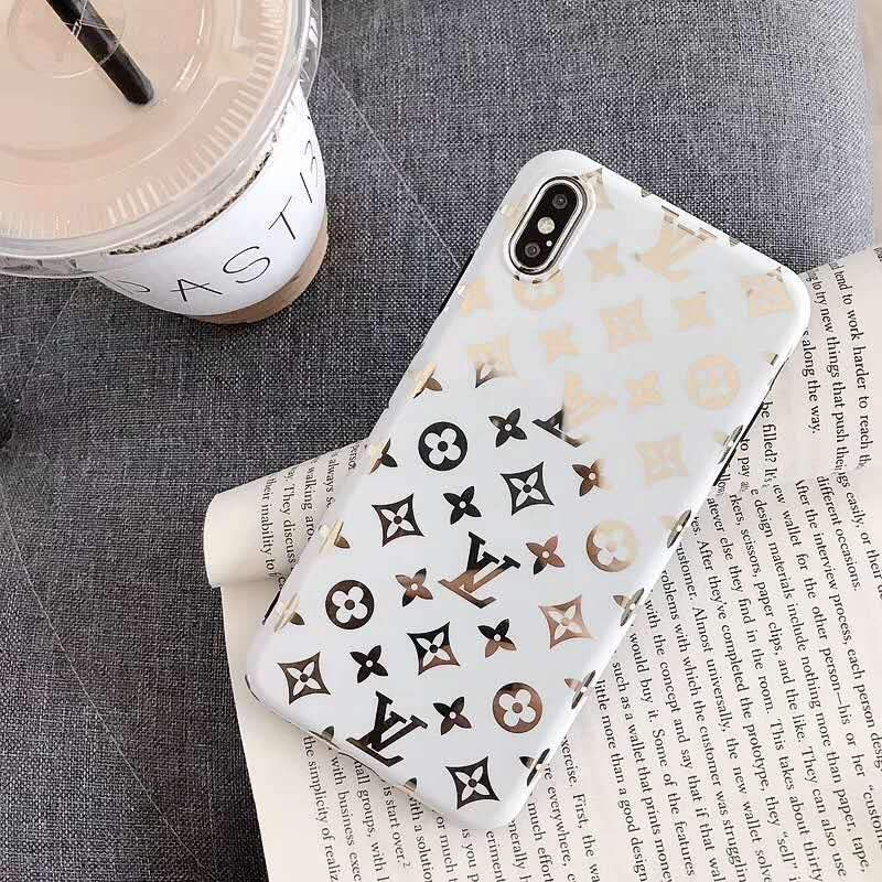 iPhone Case Small Logo White / iPhone XS Max Louis Vuitton Style Monogram Electroplating Glossy TPU Silicone Designer iPhone Case For iPhone X XS XS Max XR 7 8 Plus