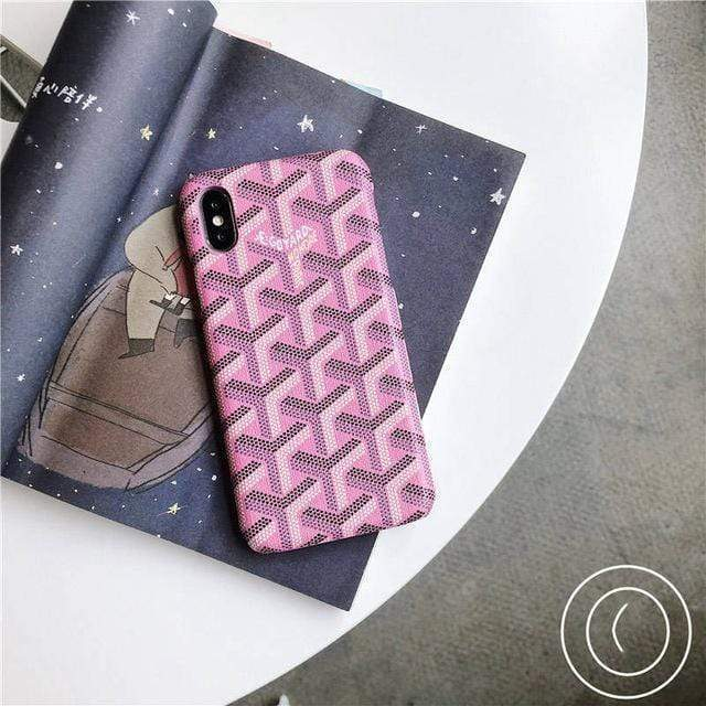 iPhone Case Pink / For iphone 7 Luxury Goyard Style Leather Protective Designer iPhone Case