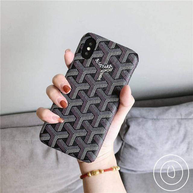 iPhone Case Black / For iphone 7 Luxury Goyard Style Leather Protective Designer iPhone Case