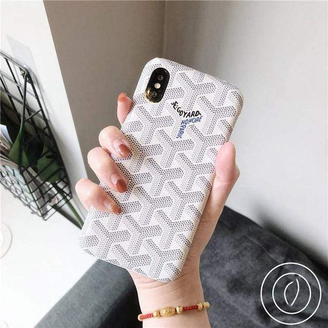 iPhone Case White / For iphone 7 Luxury Goyard Style Leather Protective Designer iPhone Case