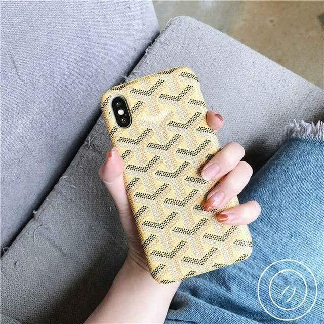 iPhone Case Beige / For iphone 7 Luxury Goyard Style Leather Protective Designer iPhone Case