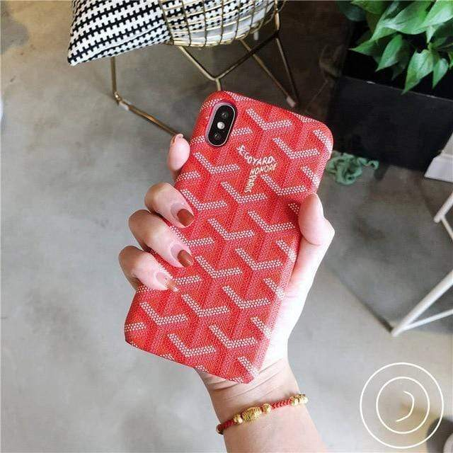 iPhone Case Red / For iphone 7 Luxury Goyard Style Leather Protective Designer iPhone Case