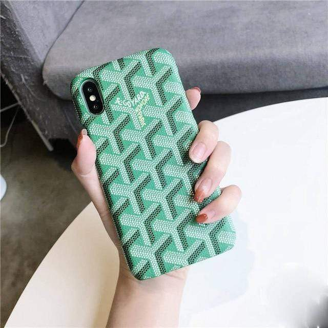 iPhone Case Green / For iphone 7 Luxury Goyard Style Leather Protective Designer iPhone Case