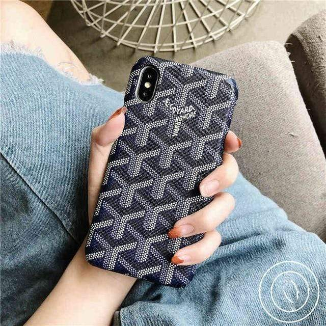 iPhone Case Blue / For iphone 7 Luxury Goyard Style Leather Protective Designer iPhone Case