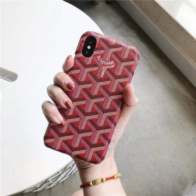 iPhone Case WineRed / For iphone 7 Luxury Goyard Style Leather Protective Designer iPhone Case