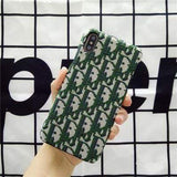 iPhone Case Green / iPhone XS Max MORE COLORS Dior Style Classic Fabric Silicone Designer iPhone Case For iPhone X XS XS Max XR 7 8 Plus