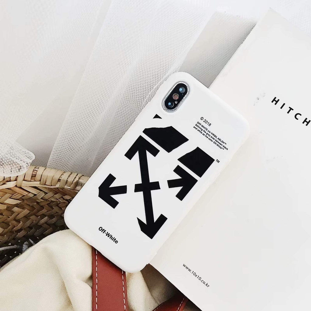 iPhone Case White / iPhone XS Max OFF WHITE Style Black Classic Silicone Designer iPhone Case For iPhone X XS XS Max XR 7 8 Plus