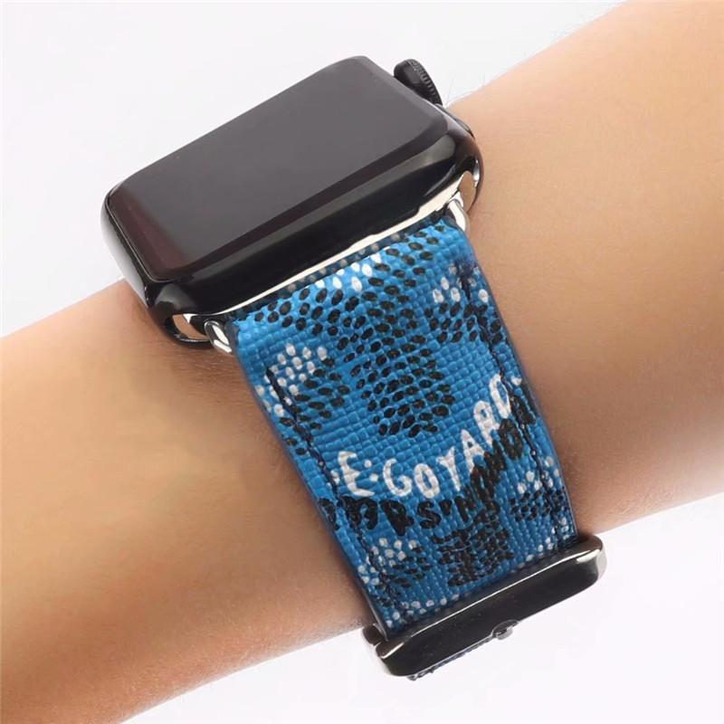 Watch Bands Blue / 38mm/40mm Goyard Style Leather Watch Bands For Apple Watch Series 4/3/2/1