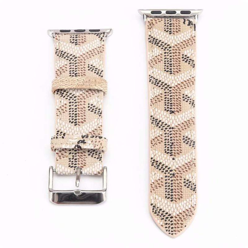 Watch Bands Ivory / 38mm/40mm Goyard Style Leather Watch Bands For Apple Watch Series 4/3/2/1
