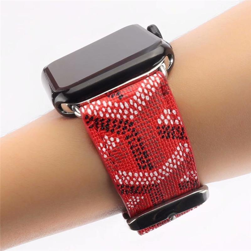 Watch Bands Red / 38mm/40mm Goyard Style Leather Watch Bands For Apple Watch Series 4/3/2/1