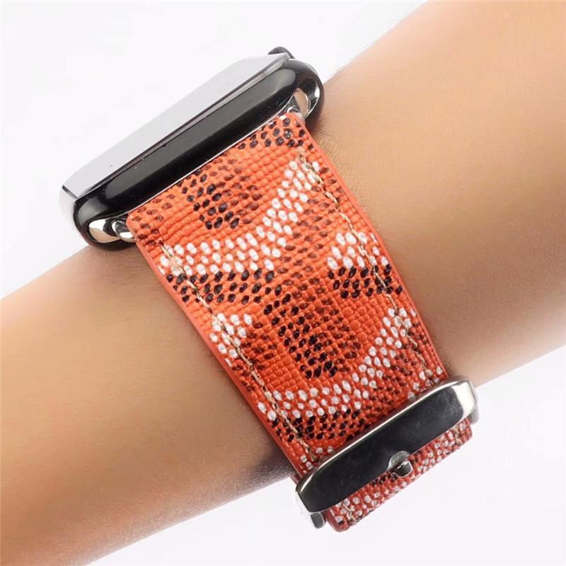 Watch Bands Orange / 38mm/40mm Goyard Style Leather Watch Bands For Apple Watch Series 4/3/2/1