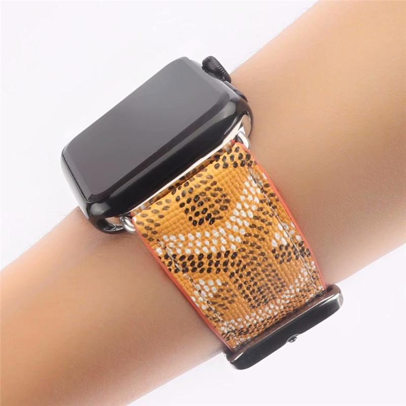 Watch Bands Yellow / 38mm/40mm Goyard Style Leather Watch Bands For Apple Watch Series 4/3/2/1