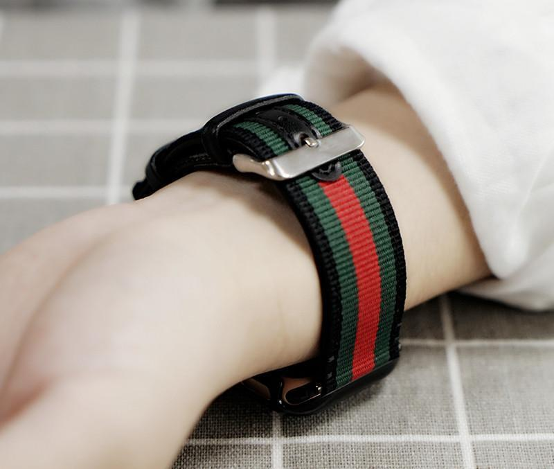 Watch Bands Gucci Style Modern Nylon Leather Hybrid Apple Watch Band Strap
