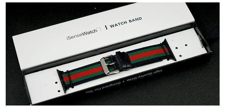 Watch Bands Black / 38mm Gucci Style Modern Nylon Leather Hybrid Apple Watch Band Strap