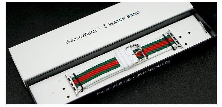 Watch Bands White / 38mm Gucci Style Modern Nylon Leather Hybrid Apple Watch Band Strap