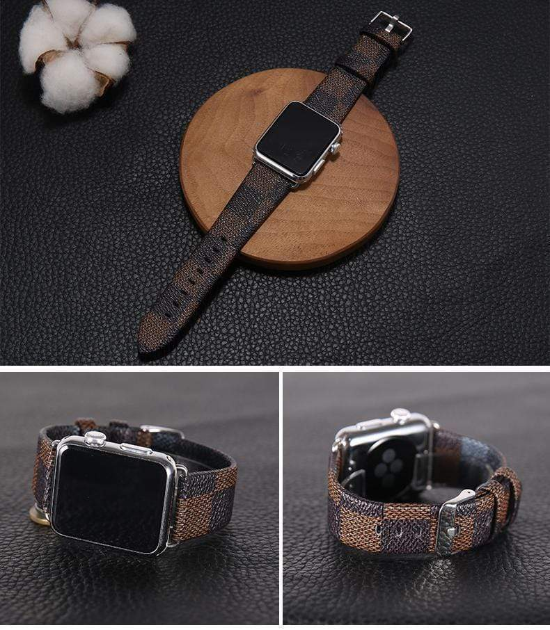 Watch Bands Louis Vuitton Style Classic Damier Leather Apple Watch Band Strap