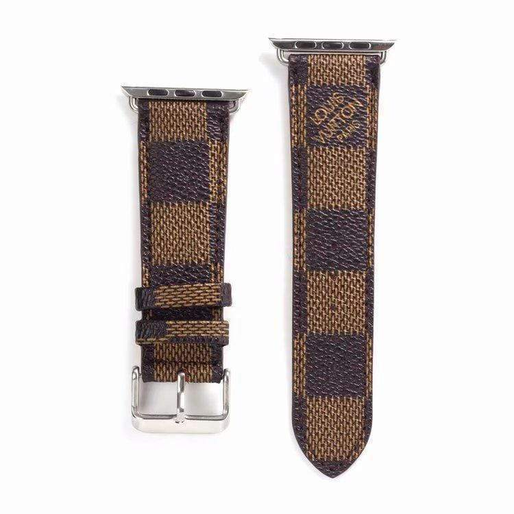 Watch Bands Brown / 38mm/40mm Louis Vuitton Style Classic Damier Leather Apple Watch Band Strap