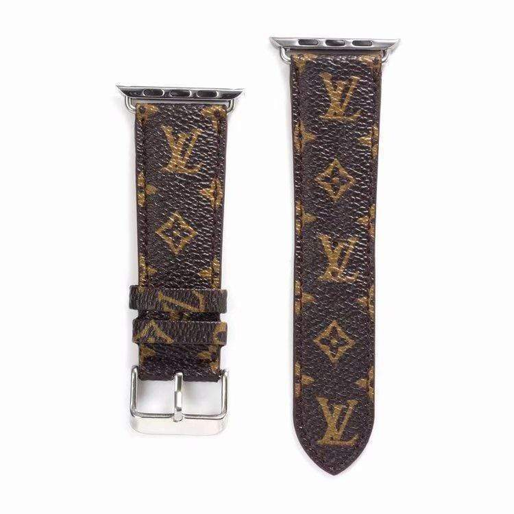 Watch Bands BrownSmallLogo / 38mm/40mm Louis Vuitton Style Monogram Leather Watch Band Strap Series 4/3/2/1